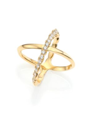 HEARTS ON FIRE | Lorelei Diamond & 18K Yellow Gold Crisscross Ring | Goxip