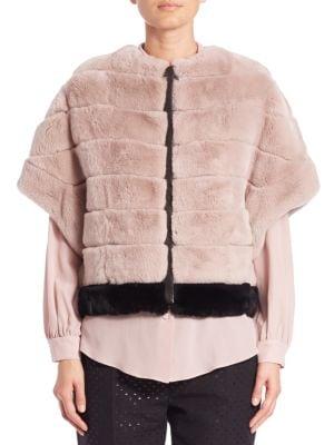 Soraia Colorblock Rabbit Fur Bolero