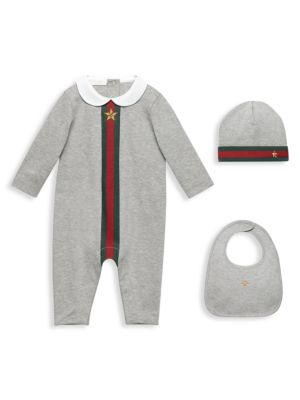 Baby's Three-Piece Coverall, Bib & Hat Gift Set