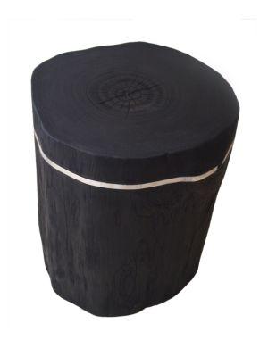 Cylinder Teak Side Table