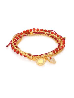 Biography Hamsa In Safe Hands White Sapphire, Red Agate & Carnelian Silken Beaded Charm Bracelet