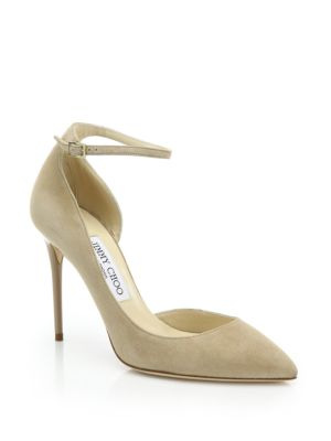 Lucy 100 Suede Ankle-Strap Pumps