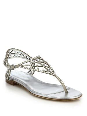 sergio rossi female 45900 tresor swarovski crystal flat sandals