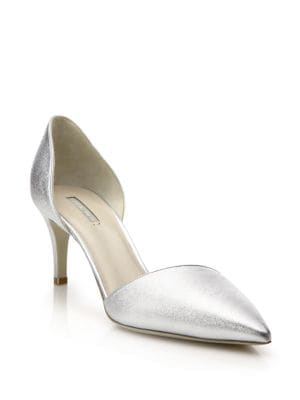 Metallic Leather d'Orsay Pumps