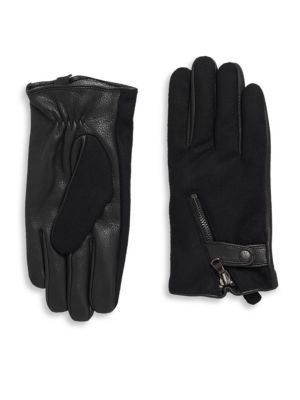 Deerskin & Wool Zip Gloves