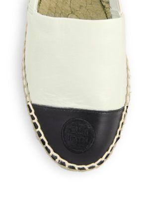 TORY BURCH Colorblock Cap-Toe Espadrille Flat, Ivory/Black in Dulce De Leche