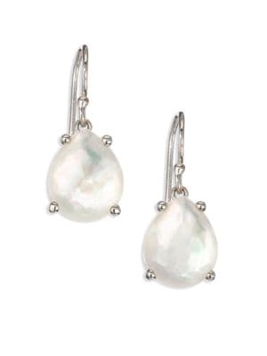 Rock Candy Mother-Of-Pearl, Clear Quartz & Sterling Silver Pear Drop Earrings