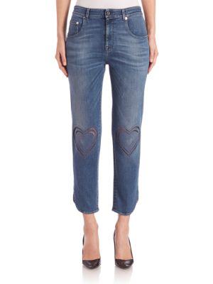 Cropped Heart-Stitch Jeans