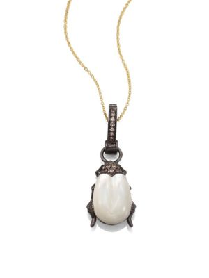 Beetle Diamond, Mother-Of-Pearl & 18k White Gold Amulet