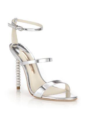 Rosalind Crystal-Heel Metallic Leather Sandals
