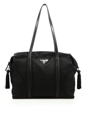 prada female  nylon calf leather tassel duffle bag