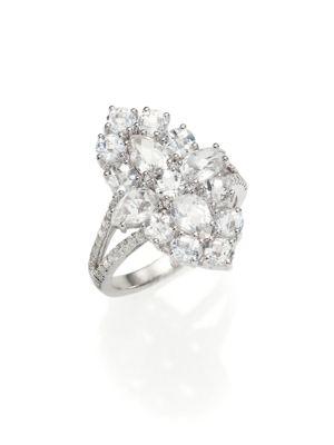 Pavé Diamond, White Topaz & 14K White Gold Ring