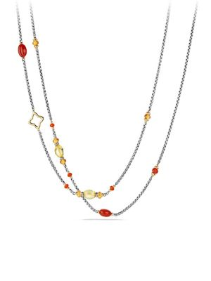 Bead and Chain Necklace with Carnelian, Amber, Citrine and 18K Gold