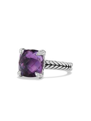 Châtelaine Ring with Gemstone & Diamonds