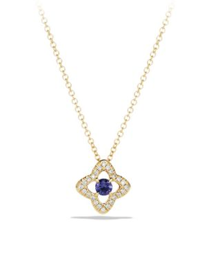 Venetian Gemstone & Diamond Pavé Quatrefoil Pendant Necklace