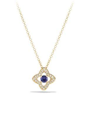 Venetian Gemstone & Diamond Pavé Quatrefoil Pendant Necklace