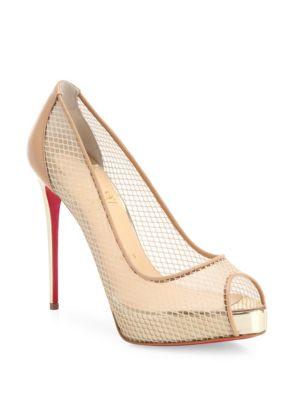 christian louboutin female very rete mesh peep toe pumps