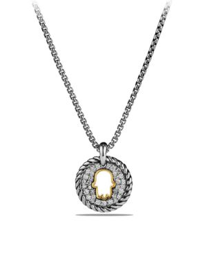 Cable Collectibles Hamsa Charm Necklace with Diamonds and 18K Gold