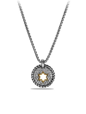 Cable Collectibles Star of David Charm Necklace with Diamonds and 18K Gold