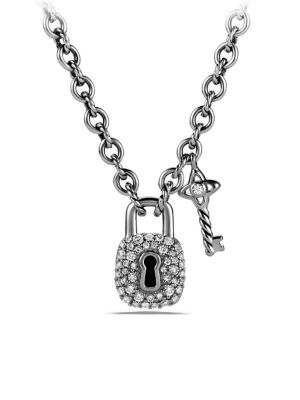 Petite Lock and Key Charm Necklace with Diamonds