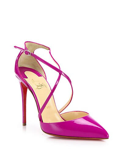 CHRISTIAN LOUBOUTIN Cross Blake 100Mm Patent Red Sole Pump, Indian ...