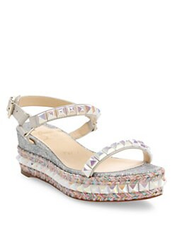 christian louboutin embroidered espadrille wedges