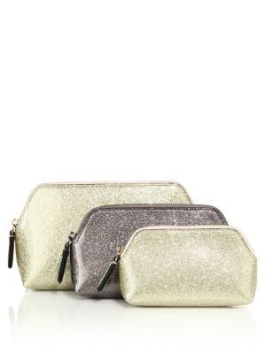 Glitter Love Faux Leather Triplet Pouch Set