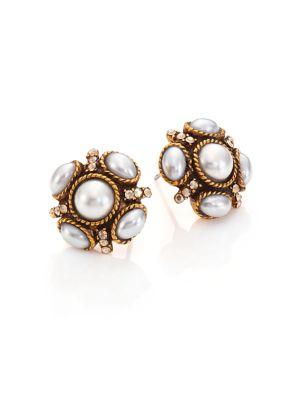 Crystal & Faux Pearl Stud Earrings