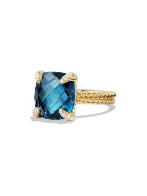 Châtelaine Ring with Hampton Blue Topaz and Diamonds in 18K Gold