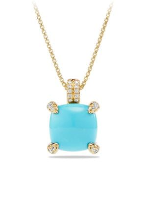 Châtelaine® Pendant Necklace with Gemstone & Diamonds in 18K Yellow Gold/11mm