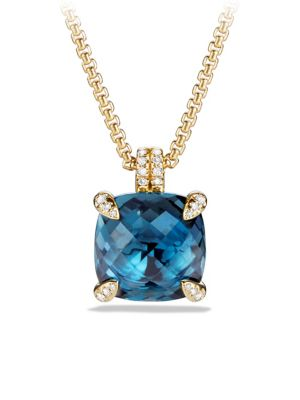 Châtelaine Pendant Necklace with Gemstone and Diamonds in 18K Gold