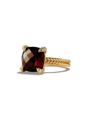 Châtelaine Ring with Garnet and Diamonds in 18K Gold