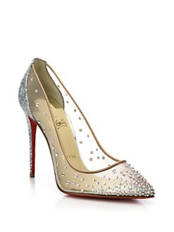 christian louboutin lace-embellished pumps