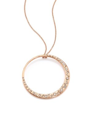 Cobblestone Champagne Diamond & 14K Rose Gold Crescent Pendant Necklace