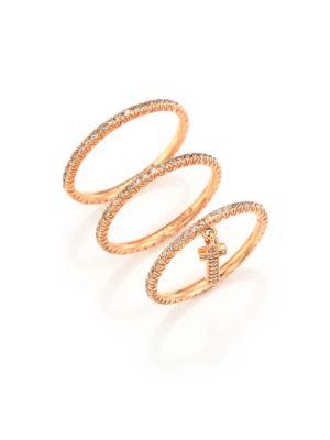 LJ CROSS Champagne Diamond & 14K Rose Gold Cross Charm Ring Set