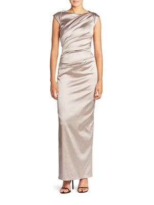 Gathered Stretch Satin Gown