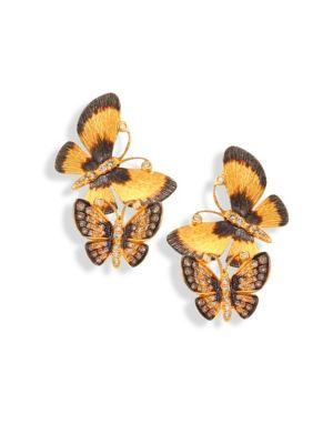 Butterflies Duet Diamond & 18K Yellow Gold Stud Earrings