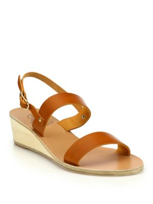 ancient greek sandals female  clio leather wedge sandals