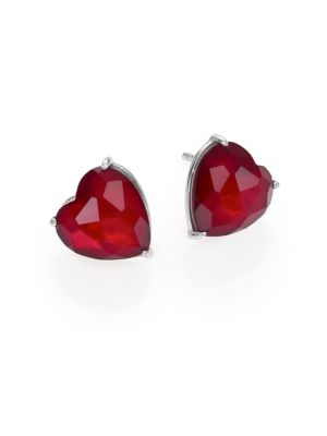 Garnet & Mother-Of-Pearl Heart Stud Earrings