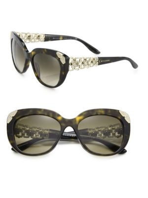 BVLGARI 55MM Crystal-Embellished Acetate & Metal Cat Eye Sunglasses