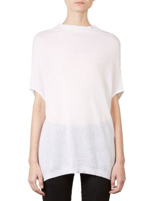 Crater Knit Cotton & Cashmere Short-Sleeve Sweater