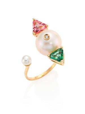 Diamond, Pearl, Topaz & 18K Gold Complex Gemetries Ring