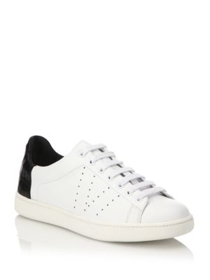 Varin Leather & Croc-Embossed Sneakers