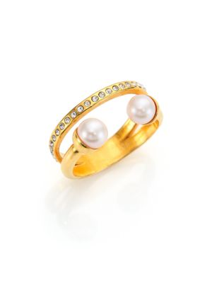 After Dark Ultra Mini 5MM-5.5MM White Akoya Pearl & Crystal Double-Band Ring
