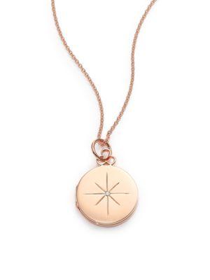 North Star Diamond & 14K-18K Rose Gold Locket Necklace