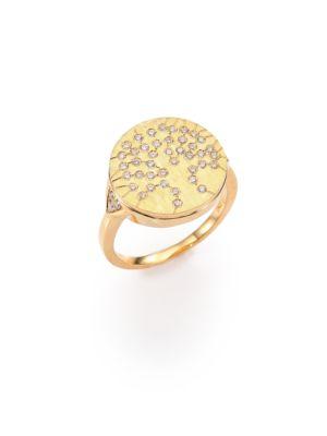 18K Brushed Yellow Gold & Diamond Tree Of Life Signet Ring