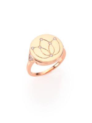 18K Polished Rose Gold & Diamond Lotus Signet Ring