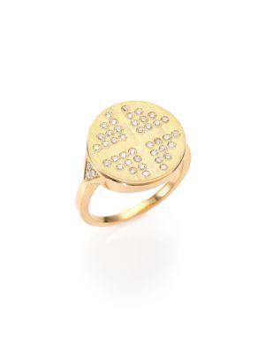 DEVON WOODHILL 18K Brushed Yellow Gold & Diamond Dee Signet Ring