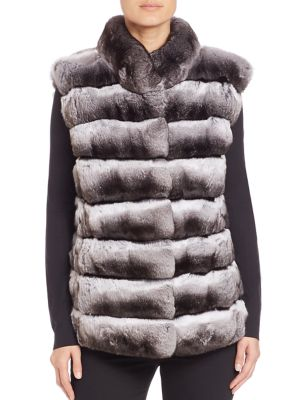 THE FUR SALON Chinchilla & Mink Fur Vest