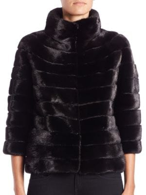 Three-Quarter Sleeve Mink Jacket